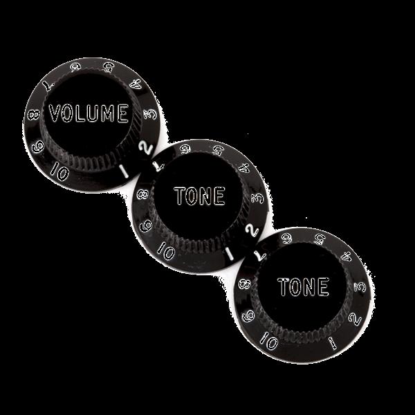 Fender Stratocaster® Knobs, Black (Volume, Tone, Tone)