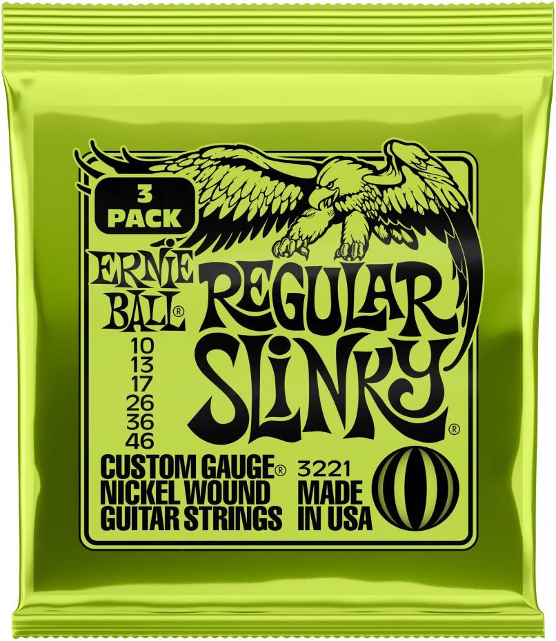 Ernie ball 3221 Regular Slinky 10-46 3er Pack
