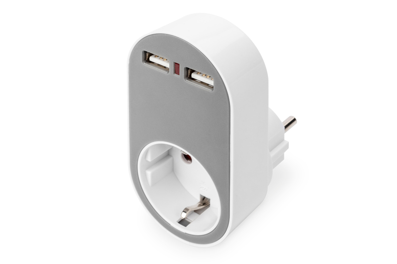 DIGITUS Universal USB Plug-in Charger mit 2 x USB-A Anschluss