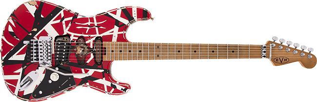 EVH Striped Series Frankie Maple Fingerboard Red with Black Stripes Relic