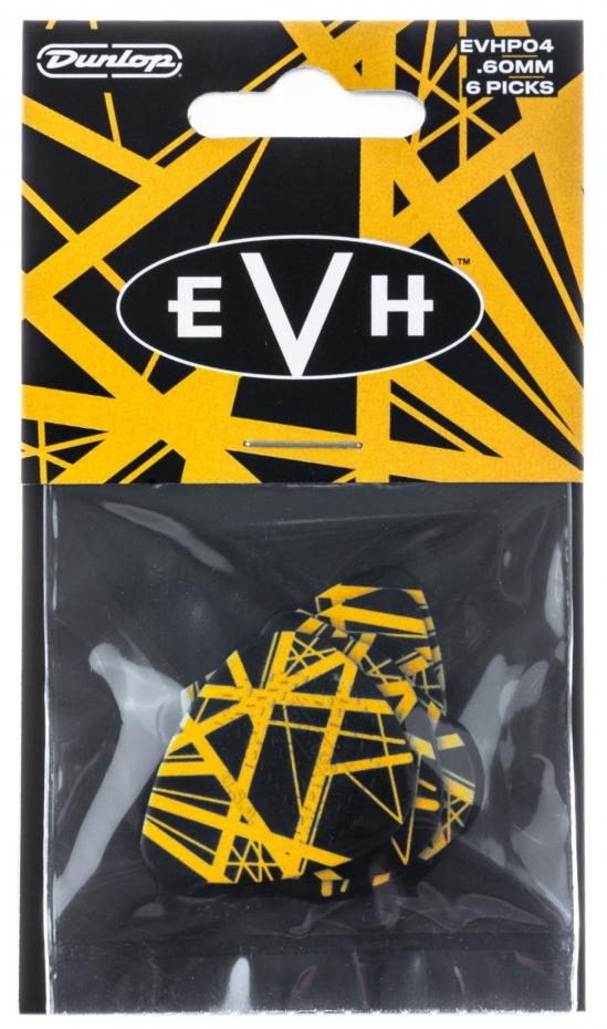 Dunlop EVH Black With Yellow Stripes VH II Picks, Players Pack, 6 pcs., 0.60 mm