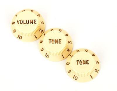 Fender Stratocaster Knobs Aged White (Volume, Tone, Tone)