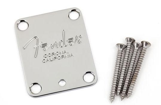 Fender 4-Bolt American Series Guitar Neck Plate with Fender Corona Stamp Chrome
