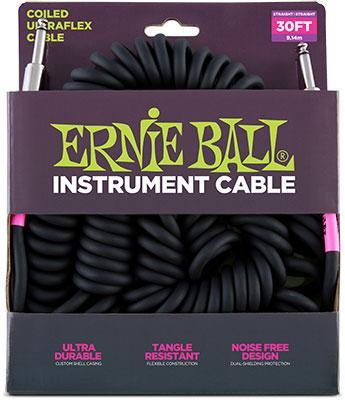 Ernie Ball Spiralkabel Schwarz 9,14m