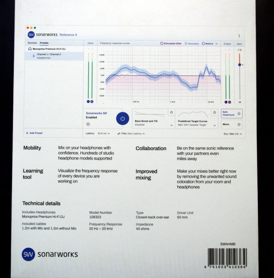 Sonarworks Reference-4-Headphone-Edition Boxed mit Monoprice Kopfhörer
