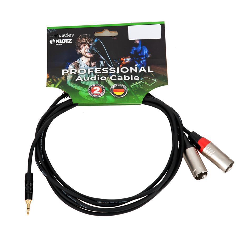 Agurdes Cables 1xStereo Miniklinke 3,5mm-2xXLRmale 3m