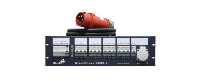 Rack Stromverteiler Blue 4 3HE 32A CEE